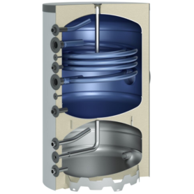 Warmtepomp-combinatieboiler 300 l met 1 buiswarmtewisselaar zilver